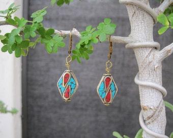 Tibetan Brass Turquoise Coral Earrings