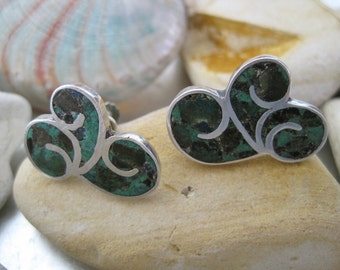 SALE:  Vintage Sterling Turquoise Swirl Earrings