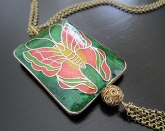 SALE:  Pink and Green Butterfly Cloisonne Brass Tassel Necklace