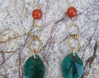 SALE:  Emerald Green Swarovski Crystal Leaves and Carnelian Earrings