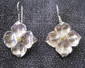SALE:  Vintage Sterling Petal Earrings