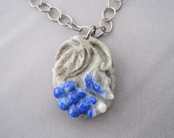 Lapis Grape Cluster Gunmetal Necklace