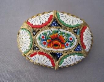 SALE:  Vintage Italian Micro Mosaic Pin