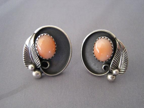 Vintage Sterling Zuni Pink Coral Earrings