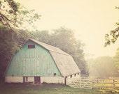 "Aqua Barn Photography, Light Turquoise Barn, Vintage Inspired and Dreamy, Home Decor, Fine Art Photograph, ""MORNING HAZE"""