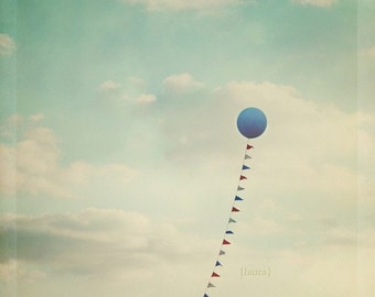 Balloon Photography - Blue Balloon - Whimsical and Dreamy Photography - Vintage inspired  - Fine Art Photograph