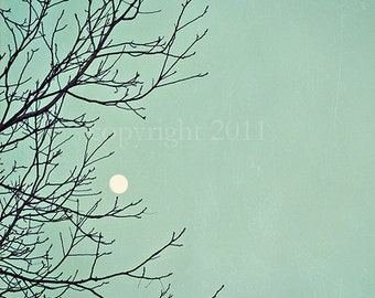Moon Photograph - Love You To The Moon and Back- Nature Photograph - Teal Blue - Tree Branch Twigs Moon - Fine Art Photograph 8x10