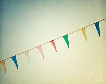 "Carnival Photography - Bunting Flag Garland Photo  - Dreamy - Colorful  Home Decor - Baby Nursery - Fine Art Photo- ""Joyous"""