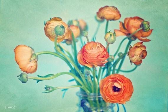 "Ranunculus Photograph - Flower Photography -  Orange, Aqua, Green, Tangerine - Home Decor  - Fine Art Photograph, 8x12- ""Love & Happiness"""