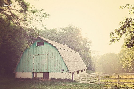"Aqua Barn Photography, Light Turquoise Barn, Vintage Inspired and Dreamy, Home Decor, Fine Art Photograph, ""MORNING HAZE"""