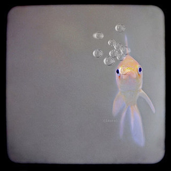 Cute Goldfish, Conversation Piece, Dreamy Vintage Inspired, Surreal Photo, Home Decor, Fine Art Photography