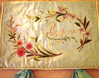 SALE Antique French HANKYCASE  pale/blue SILK Ribbon/embroidered with bonheur/flowers