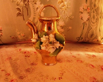 Antique FRENCH barbotine gilded SNUFF BOTTLE with a Carnation