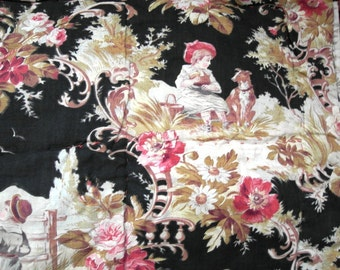 SALE Antique French QUILT boutis small size CHILDREN scenes