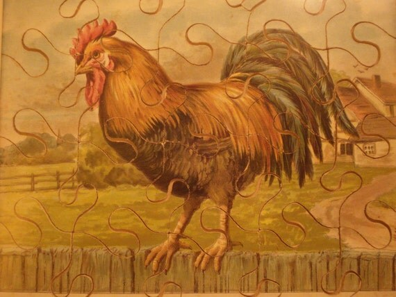 RESERVED FOR VICTORIA Antique French puzzle chromolito with a rooster
