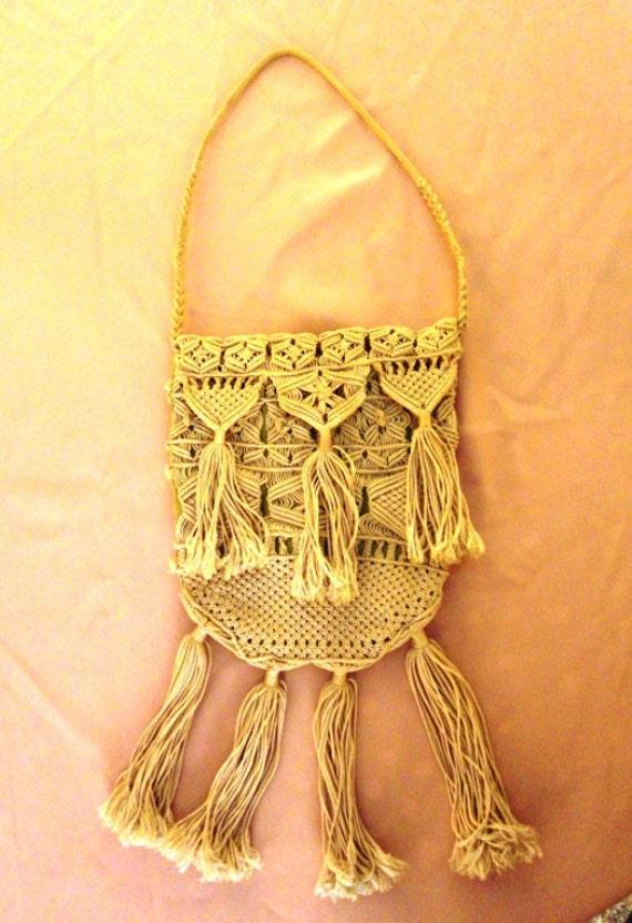 Antique Italian small MACRAME' lace PURSE ECRU' fringes