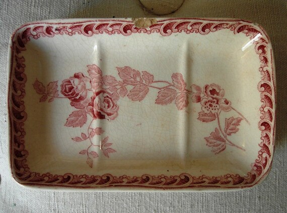 Antique French earthenware SOAP HOLDER with ROSES Choisy Le Roi
