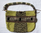 Safari Style Purse, Green, Brown and Leopard Print - One of a Kind, Handmade, Vintage Fabrics