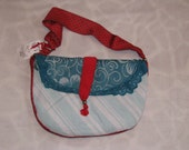 Turquoise to Die For Purse with Red - One of a Kind, Handmade, Vintage Fabrics