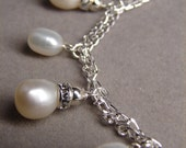 Flower Buds on a Vine- Freshwater Pearls and Sterling Bracelet