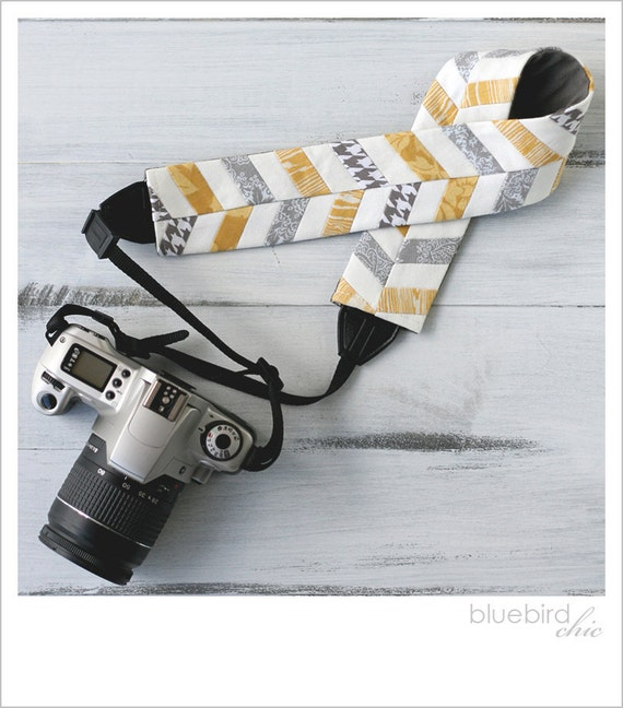 CLOSEOUT SALE - chase away the gray chevron camera strap cover