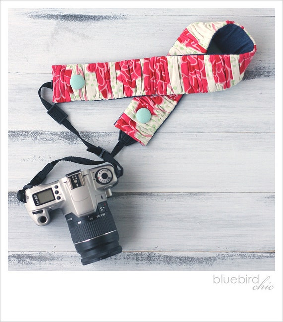 ruched camera strap cover - soft red floral