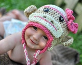 Girls Sock Monkey Crochet Hat in Medium Pink