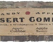 CANDY APPLE Country Primitive Harvest Fall Autumn Wall Hanging Sign - oldetimegatherings