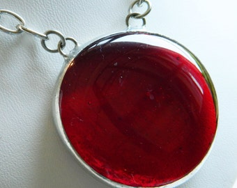Large Stained Glass Jewel Necklace in Righteous Red