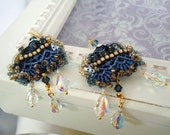 Blue Lace embroidered Victorian Earrings