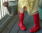 red retro rain boots - galoshes - rainy day retro fun