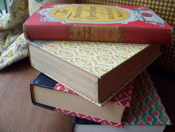 Beautiful vintage book lot - for decoration - rust and gold The Fountain Overflows (4 books)