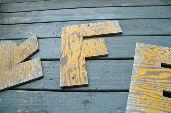 Letter 'F' made of old barn siding - cool rustic look