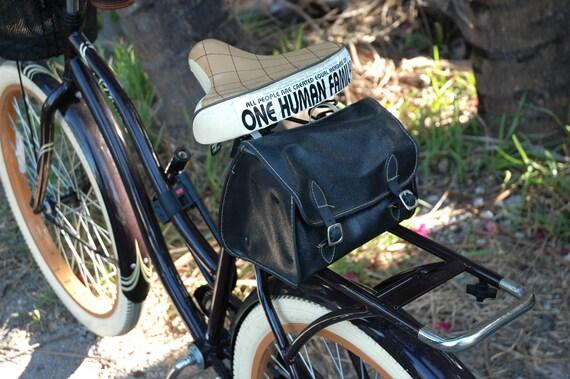vintage bike bag in soft black leather