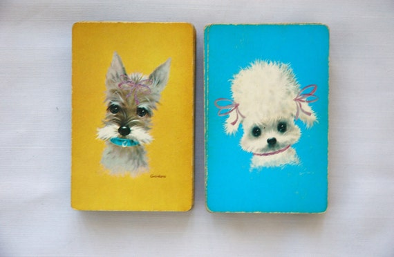 12 Vintage Playing Cards - puppies poodle and schnauzer