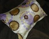 Satin Pillowcase Brown and Purple Dots and Circles
