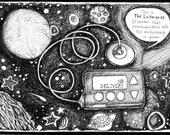 Spaceship Enterprise - Pen & Ink Illustration