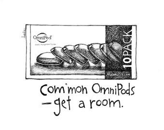 Get a Room - Pods - Pen & Ink Diabetes Illustration
