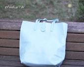 Simple Leather Shoulder Bag - Pale Blue