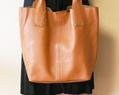 Supple Leather  Large Tote Bag - Tan Brown