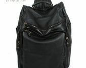 Chic Style Leather Backpack - Black