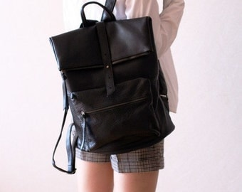 Square Shape Leather Backpack - Black