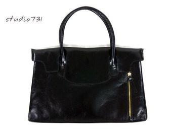 Unique Leather Shoulder Bag -  Black