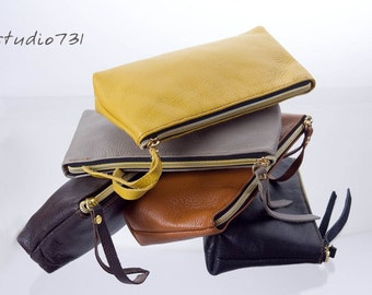 Simple Leather  Clutch / Pouch Bag - Your Color Choice