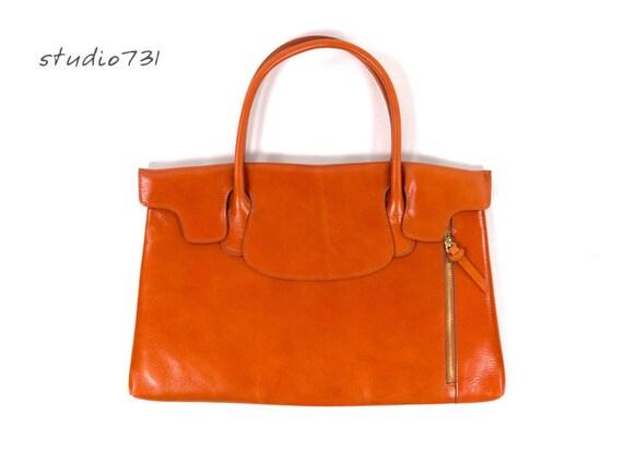 Unique Leather Shoulder Bag -  Tan Brown