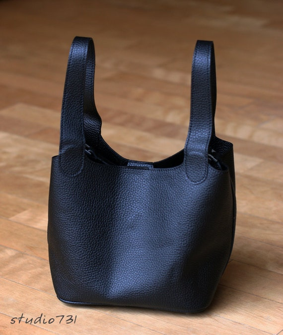 Small Faux Leather Tote Bag - Black