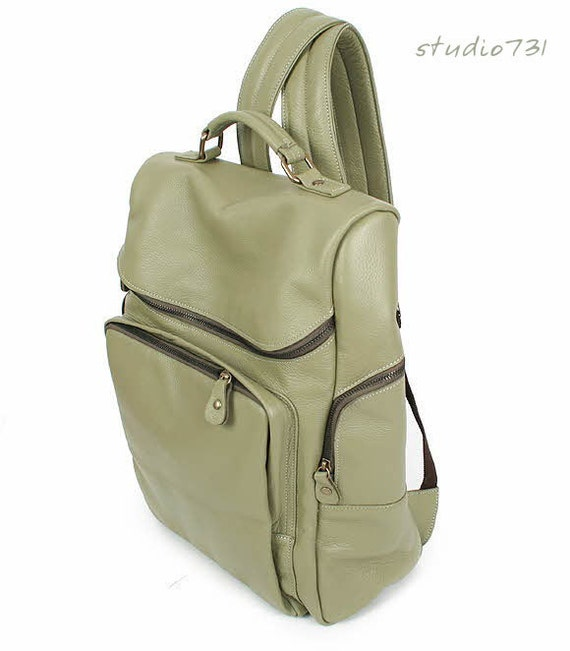 Chic Style Leather Backpack - Light Olive Green