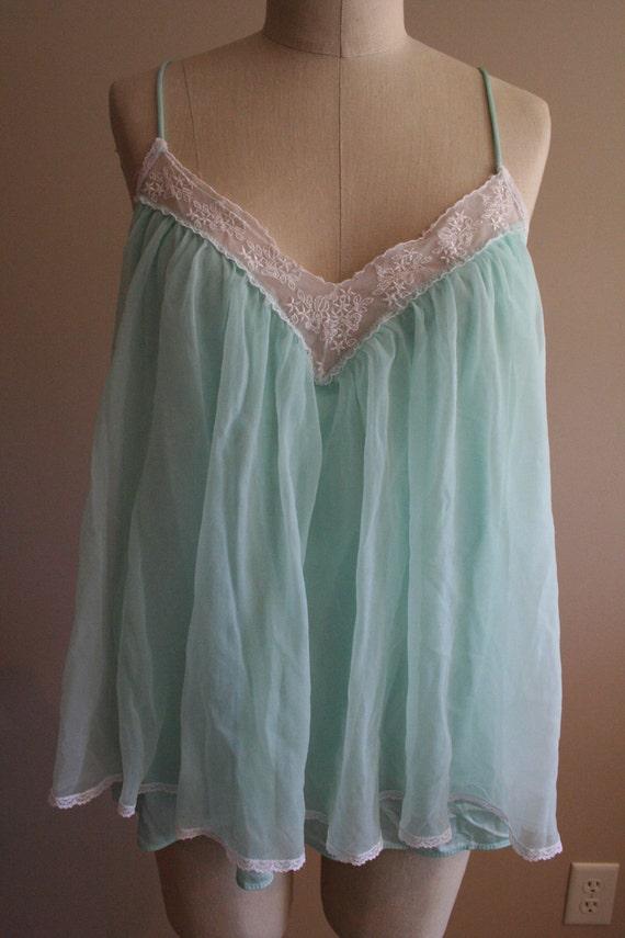 Vintage mint baby doll top lingerie- Size large