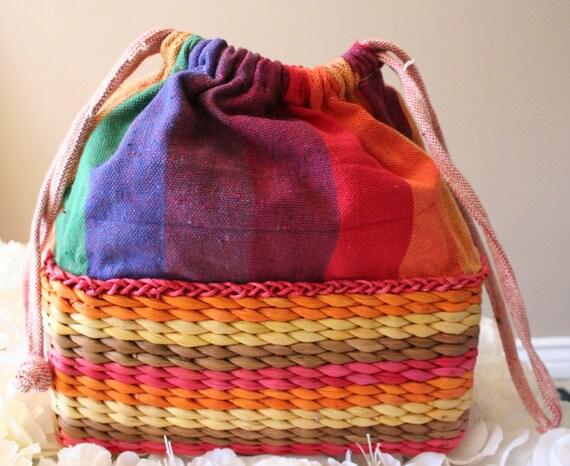 Rainbow purse with straw bottom- Festival- Boho- Hippie- Desert- Coachella- Ethnic- Rainbow