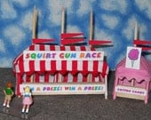 O Scale Carnival Game / Concession Tent Set- Squirt Gun Race